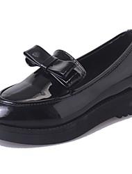 Для женщин Мокасины и Свитер Удобная обувь Полиуретан Лето Повседневные Бант На плоской подошве Черный 4,5 - 7 см