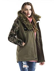 Пальто Винтаж Уличный стиль Изысканный Обычная На подкладке Для женщин,С принтом камуфляж На выход На каждый день ПолиэстерПолиэстер