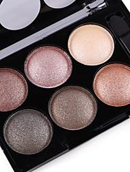 6 Color in 1 Palette, 2 Color Palette Select Paleta de Sombras de Ojos Seco Mate Brillo Paleta de sombra de ojos PolvoMaquillaje de
