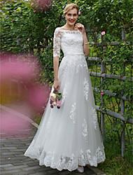 Trapèze Princesse Longueur Sol Dentelle Tulle Robe de mariée avec Appliques Châssis / rubans par LAN TING BRIDE®
