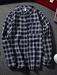 Men's Going out Simple Shirt,Check Shirt Collar Long Sleeves Cotton