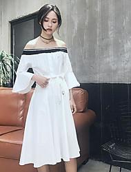 Fodero Vestito Da donna-Casual A strisce A barca Medio Manica a 3/4 Cotone Estate A vita medio-alta Media elasticità Sottile