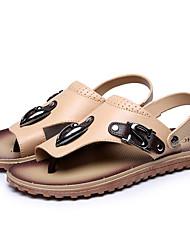 Для мужчин Сандалии Удобная обувь Лето Резина Повседневные Черный Темно-коричневый Хаки На плоской подошве