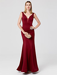 Mermaid / Trumpet V-neck Floor Length Jersey Formal Evening Dress with Crystal Detailing by TS Couture®