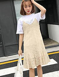 Women's Casual/Daily Trumpet/Mermaid Dress,Solid Strap Above Knee Sleeveless Polyester Summer Mid Rise Inelastic Thin