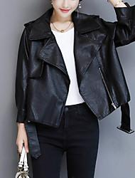 Для женщин На выход На каждый день Осень Зима Кожаные куртки Рубашечный воротник,Уличный стиль Однотонный Короткая Длинный рукав,