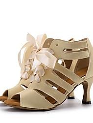 Damen Salsa Seide Sandalen Absätze Aufführung Band Keilabsatz Gold Schwarz Braun Rot 7,5 - 9,5 cm 5 - 6,8 cm Maßfertigung