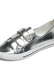 Damen Flache Schuhe Komfort Sommer PU Normal Kleid Klett Flacher Absatz Gold Silber Rot Grün Flach