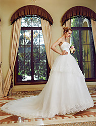 Princess Strapless Court Train Tulle Wedding Dress with Sequin Embroidered by TYSY