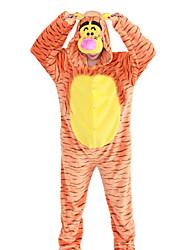 Kigurumi Pajamas Tiger Festival/Holiday Animal Sleepwear Halloween Stripes Animal Print Embroidered Flannel FabricCosplay Costumes