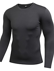 Men's Long Sleeves Breathability Stretchy T-shirt Sweatshirt Top for Running/Jogging Cycling Exercise & Fitness Elastane Terylene Tight