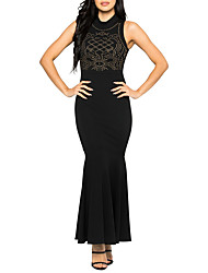 Women's Party Club Sexy Simple Street chic Bodycon DressPatchwork Hot drilling Round Neck Maxi Sleeveless Pleated  Spring Summer High Rise