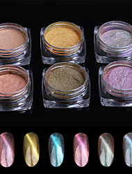 6PCS Pinpai Foreign Trade Explosions Nail Powder Cat Chameleon Chameleon Laser Eye Magic Eye Powder Magnetic Mirror Powder