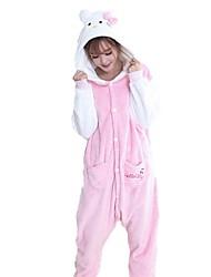 Kigurumi Pijamas Gato Festival/Celebración Ropa de Noche de los Animales Halloween Moda Bordado Franela Disfraces de Cosplay Kigurumi por