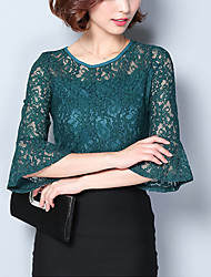 Women's Plus Size Going out Work Street chic Spring Fall Slim Lace Blouse Embroidery Round Neck 3/4 Length Sleeves