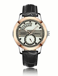 Men's Fashion Watch Quartz Genuine Leather Band Casual Black Brown