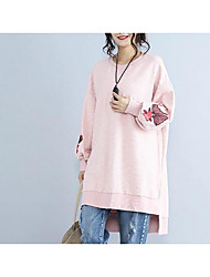 Women's Going out Hoodie Striped Round Neck Micro-elastic Cotton Long Sleeve Spring