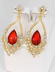 Dámské Visací náušnice imitace Sapphire imitace Diamond Módní bižuterie Slitina Flower Shape Šperky Pro Párty Zásnuby Denní
