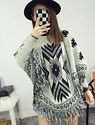 Women's Casual/Daily Regular Pullover,Print Round Neck Long Sleeves Cotton Fall Medium Micro-elastic