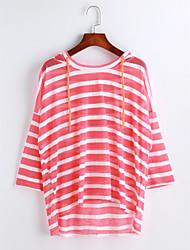 Damen Solide Gestreift Einfach Lässig/Alltäglich T-shirt,Mit Kapuze Kurzarm Baumwolle