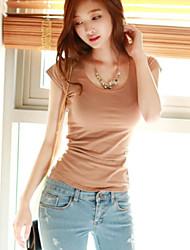Damen Solide Einfach Lässig/Alltäglich T-shirt,Rundhalsausschnitt Kurzarm Polyester