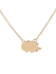 Lovely Handcrafted Brushed Metal Hedgehog Necklace Fancy Gift