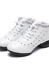 Women's Dance Sneakers Real Leather Sneakers Outdoor Stitching Polka Dots Sided Hollow Out Flat White 1 - 1 3/4 Customizable