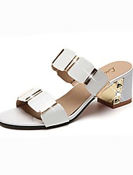 Women's Slippers & Flip-Flops Comfort Summer Patent Leather Walking Shoes Casual Chunky Heel White Black 2in-2 3/4in