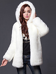 Women's Plus Size Going out Simple Fall Winter Fur Coat,Solid Hooded Long Sleeve Regular Faux Fur