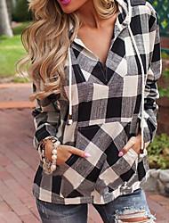 Damen Solide Schachbrett Einfach Sport T-shirt,Mit Kapuze Langarm Baumwolle