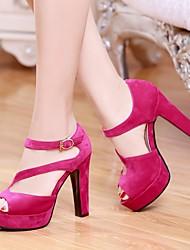Damen Schuhe PU Sommer Komfort High Heels Blockabsatz Peep Toe Mit Für Normal Schwarz Beige Fuchsia