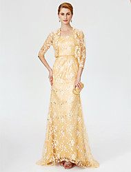 Sheath / Column Strap Sweep / Brush Train Lace Mother of the Bride Dress with Beading Sash / Ribbon by LAN TING BRIDE®