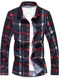 Masculino Camisa Social Para Noite Casual Trabalho Tamanhos Grandes Moda de Rua Primavera Outono,Xadrez Algodão AcrílicoColarinho de