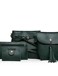Damen Bag Sets PU Ganzjährig Normal Baguette Bag Reißverschluss Grün Schwarz Beige Braun