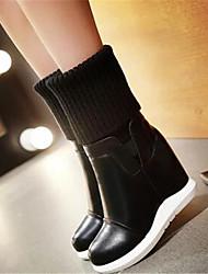 Women's Boots Comfort PU Fall Winter Casual Comfort Black 4in-4 3/4in