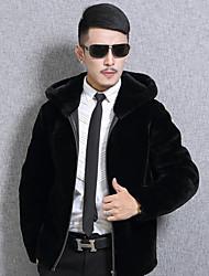 Masculino Casaco de Pêlo Para Noite Casual Simples Vintage Outono Inverno,Sólido Padrão Pêlo de Coelho Pêlo Sintético Com CapuzManga
