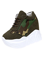 Women's Sneakers Comfort Polyester Spring Fall Casual Outdoor  Increased within Camouflage Classic Lace-up Low Heel Khaki Black White 4in-4 3/4in
