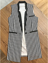 Women's Going out Simple Spring Fall Vest,Striped Color Block Shirt Collar Short Sleeve Long Others