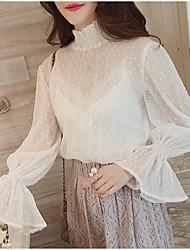 Chemisier Femme,Couleur Pleine Sortie simple Manches Longues Col Roulé Polyester