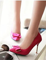 Feminino Saltos Conforto Pele Nobuck Couro Ecológico Primavera Outono Casual Preto Roxo Vermelho 12 cm ou mais