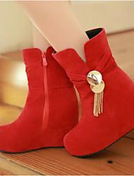 Women's Boots Comfort PU Winter Casual Comfort Ruby Brown Beige 4in-4 3/4in
