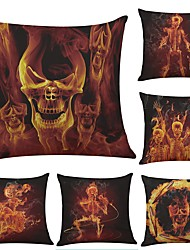 Set of 6 Flame Skull Linen Cushion Cover Home Office Sofa Square Pillow Case Decorative Cushion Covers Pillowcases (18*18Inch)