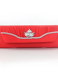 Women Bags Spring/Fall All Seasons Silk Evening Bag with Rhinestone Pleated Chain for Wedding Event/Party Casual Formal Outdoor Black Red