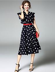 Women's Going out Cute Swing Dress,Polka Dot V Neck Midi Short Sleeves Polyester Summer Low Rise Micro-elastic Medium