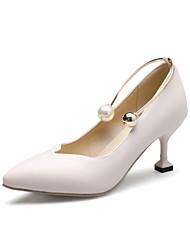 Women's Heels Comfort Spring Fall PU Outdoor Office & Career Beading Imitation Pearl Stiletto Heel Almond Blushing Pink Black White 1in-1