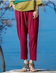 Femme simple Taille Normale Micro-élastique Cigarettes Pantalon,Mince Couleur Pleine
