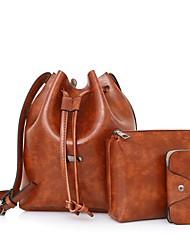 Damen Bag Sets PU Ganzjährig Normal Barrel Bag Schnürbar Schwarz Rote Grau Braun
