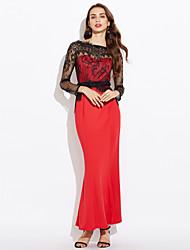 Women's Lace Splicing Long Sleeve Fishtail Bodycon Dress