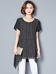 Women's Casual/Daily Loose Dress,Striped Round Neck Above Knee Short Sleeve Polyester Summer Mid Rise Inelastic Thin