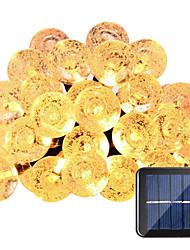 hkv® lâmpadas solares 6m 30led à prova de água fada jardim ao ar livre festa de natal decoração decoração luz